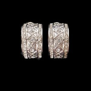 Vintage Silver Tone With Faux Diamonds Earrings